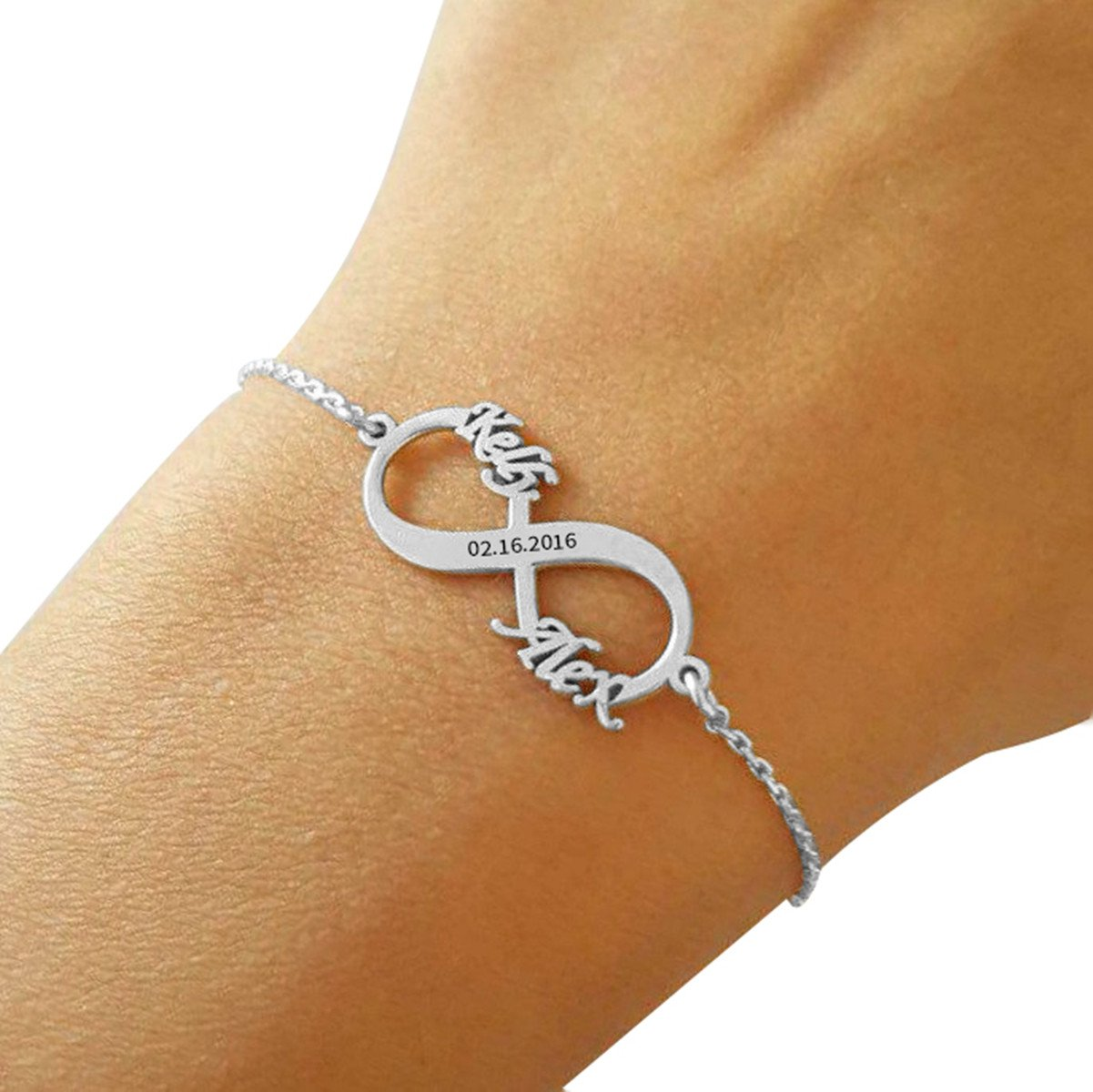 Ouslier Personalized 925 Sterling Silver Infinity Bracelet Custom Made with 2 Names & Dates (Silver)