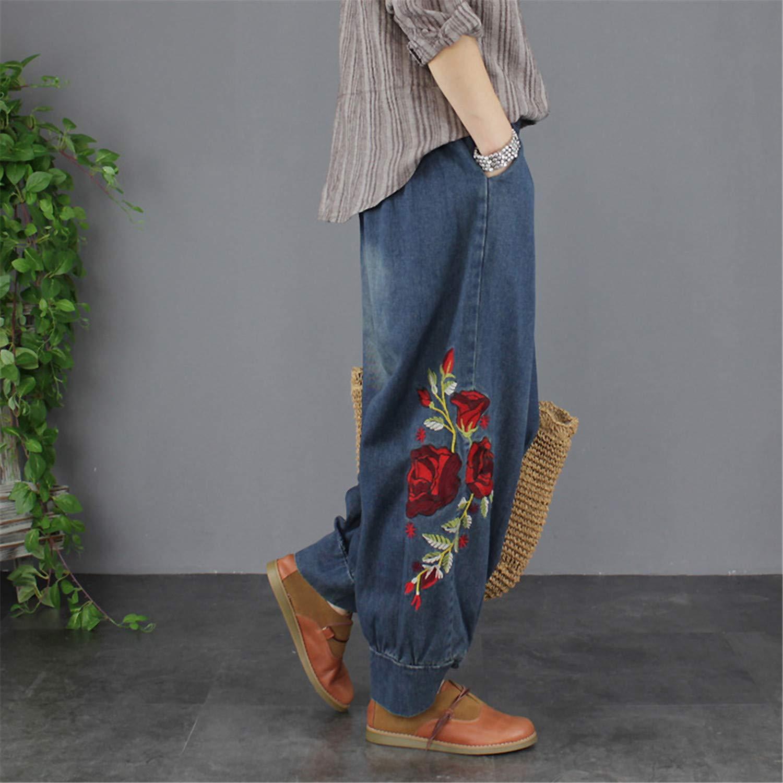 ANZLOU/& Autumn Jeans Women Large Size Retro Pants Elastic Waist Casual Denim Trousers