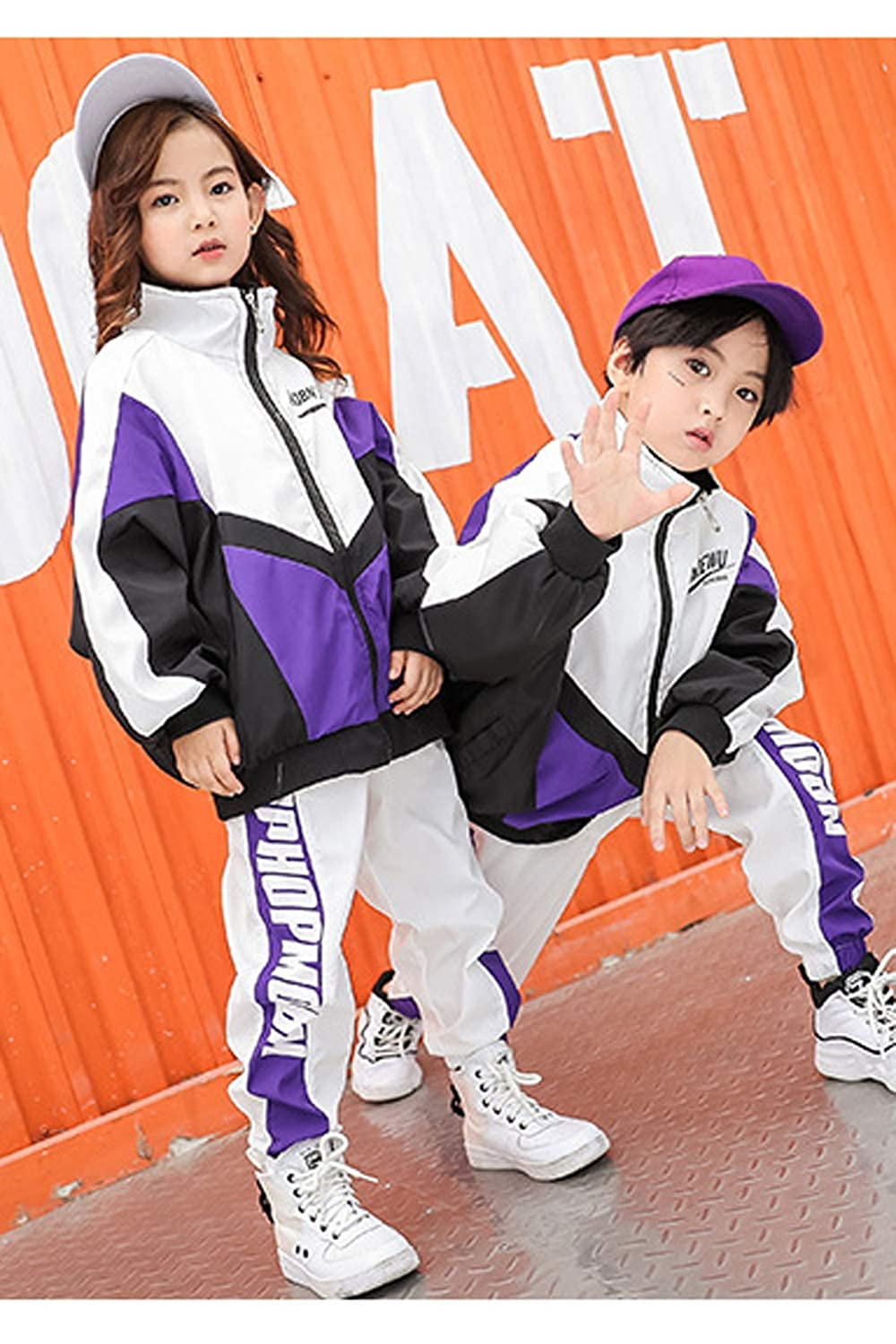 Boys Coat Clothing Set Jacket Dance Hiphop Girls Causal Pants