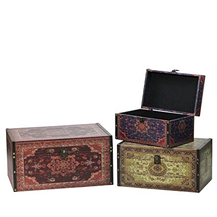 Northlight Set Of 3 Oriental Style Red Brown And Cream Earth Tones Decorative Wooden Storage Boxes 17 25