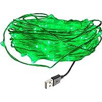eleidgs 10010m/33ft cuivre Ficelle, étanche Flexible LED Barre Lumineuse Avec Port USB, pour intérieur et extérieur, mariage, fête de Noël, (Vert)