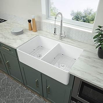 Logmey 32 Inch Farmhouse Sink Apron Front Fireclay Double Bowl White Ceramic Kitchen Sink Amazon Com