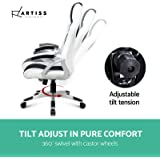 Artiss Gaming Chair Office Computer Racing PU Leather Adjustable Executive Chair with Armrest Highback Black And Grey