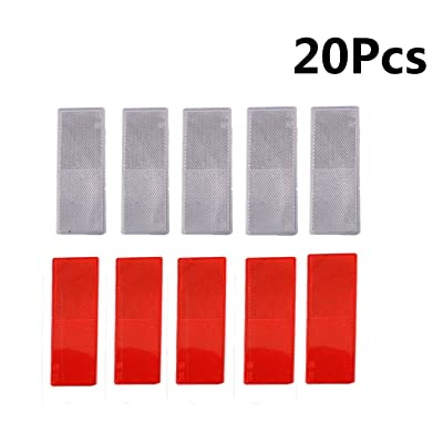 MOSA STORE Plastic Reflector Stick-on Car Reflector Sticker(10Pcs Red ,10Pcs White): Automotive