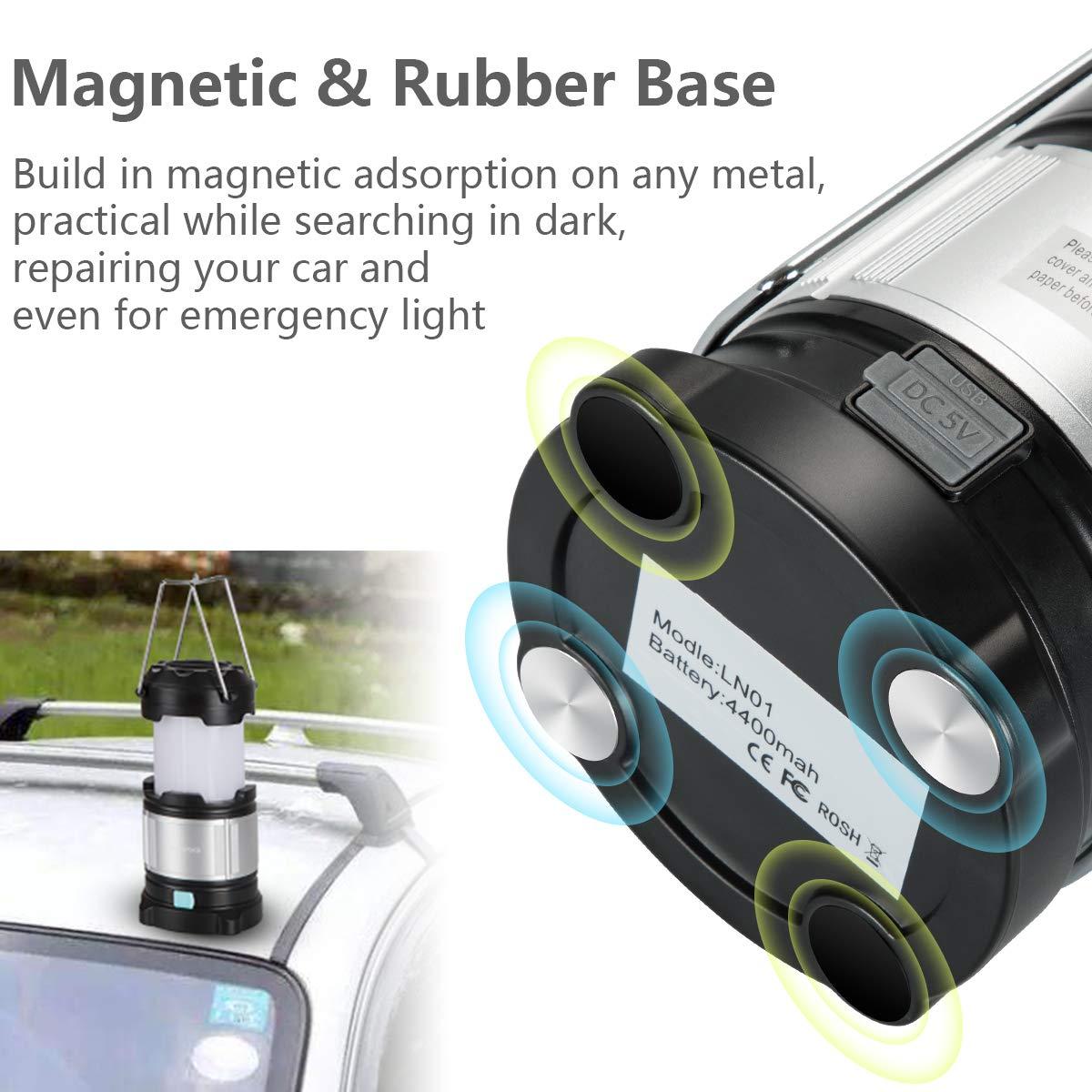 4 Light Modes for Camping//Fishing IPX5 Waterproof Portable LED Lantern Rechargeable Camping Lamp Lightweight Led USB Lamp Flashlight 4400mAh Power Bank Homealexa LED Camping Lantern Emergency Light