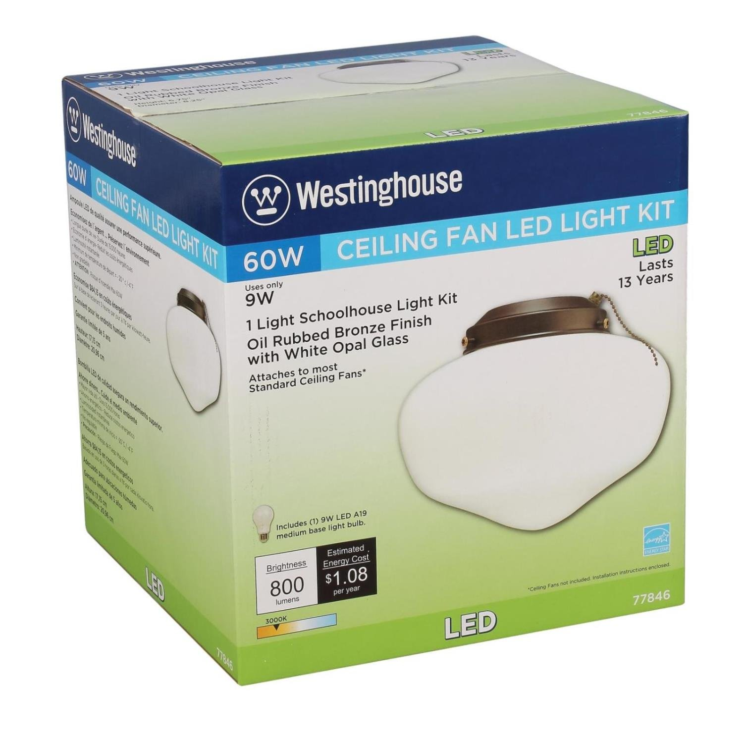 Westinghouse Lighting 7784600 LED Schoolhouse Indoor/Outdoor Energy Star Ceiling Fan Light Kit, Oil Rubbed Bronze Finish with White Opal Glass by Westinghouse Lighting (Image #3)