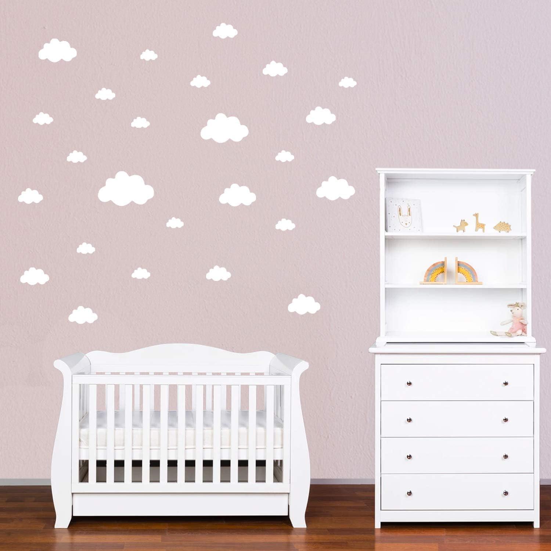Facile /à Poser Rose PREMYO Set de 25 Stickers Muraux Enfants Nuages Autocollants D/écoration Murale Chambre B/éb/é