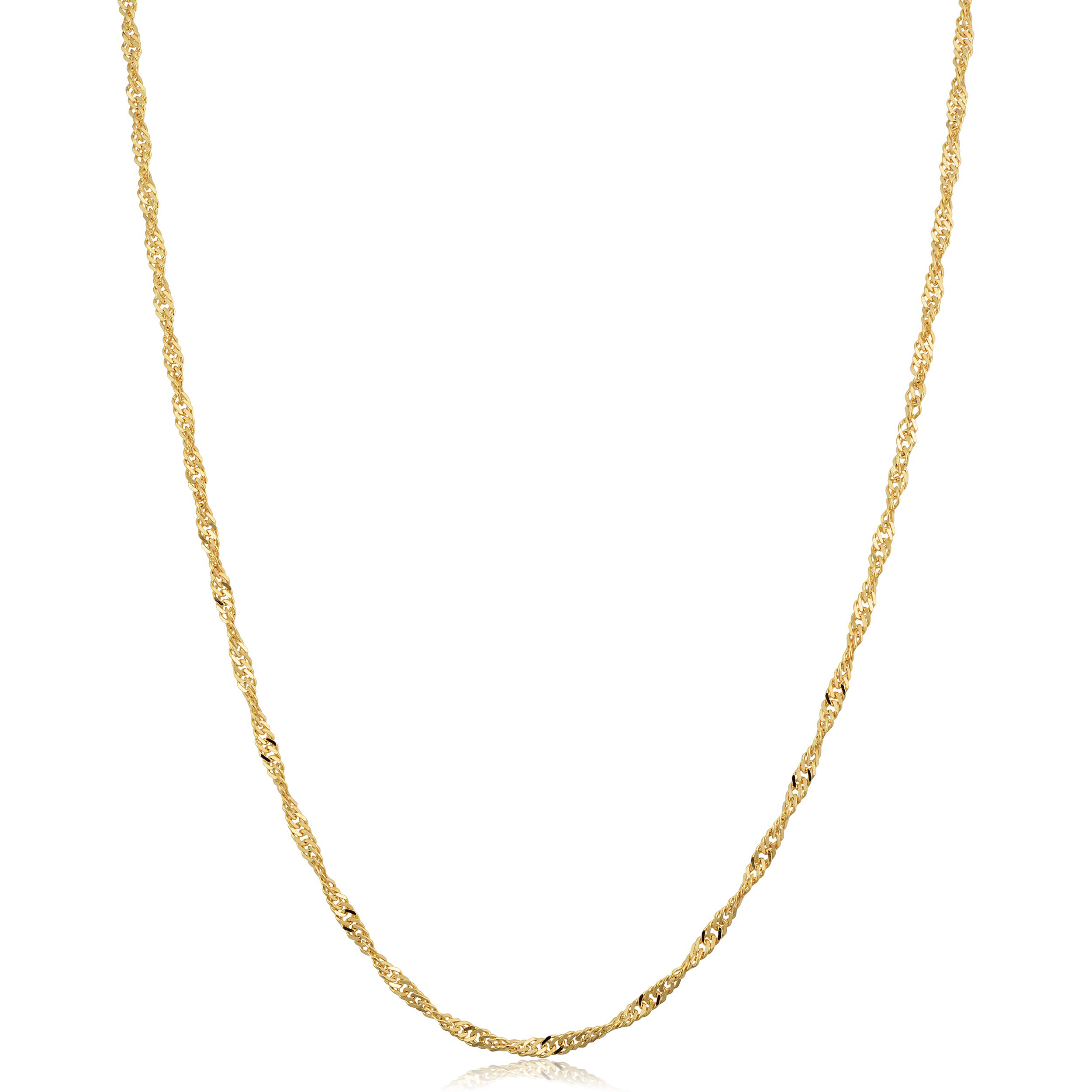 14k Yellow Gold Singapore Chain Necklace (1.7mm, 24 inch)
