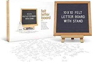 Felt Letter Board 10 x 10 inches with Wooden Tripod Stand Classy Gray Felt 340 Changeable White Plastic Letters Gift Box Packaging Oak Frame Wall Mount Hanger Drawstring Storage Bag Perfect Gift