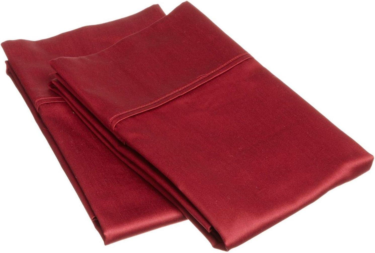 SUPERIOR 800 Thread Count 100% Egyptian Cotton 2 Piece Pillowcase Set, Burgundy, King