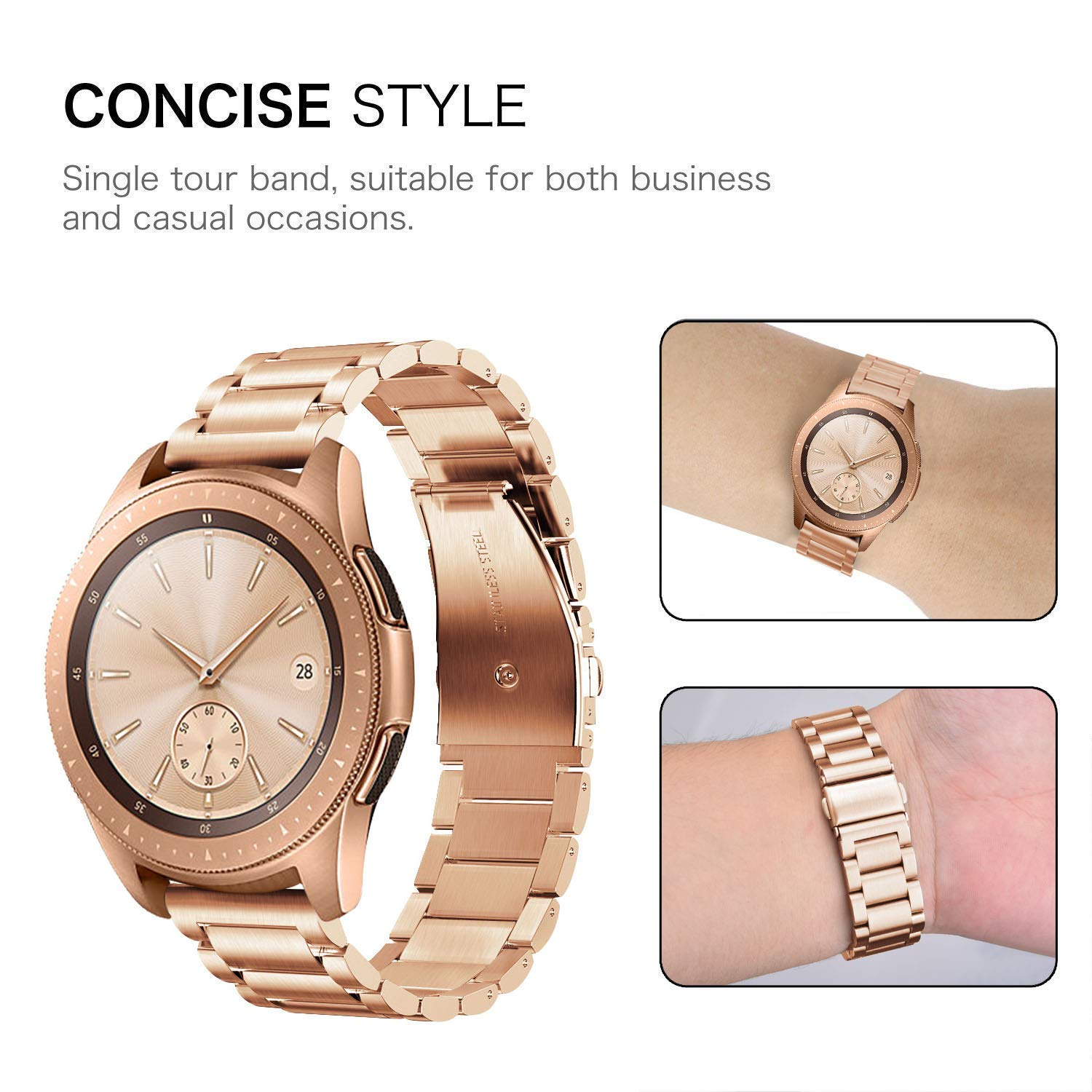 CAGOS Compatible Galaxy Watch 42mm/Galaxy Watch Active Bands Sets, 20mm 2 Pack Stainless Steel Band+Milanese Loop Mesh Bracelet for Samsung Galaxy Watch 42mm /Ticwatch E Smartwatch - Rose Gold by CAGOS (Image #3)