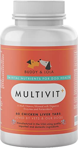 Buddy Lola Multivitamin for Dogs Advanced Daily Supplements to Improve Dog Health – Multivitamins, Nutrients, Calcium, Digestive Enzymes Antioxidants Chicken Liver Taste Chewable Tablets