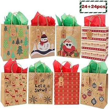 Amazon.com: 24 bolsas de regalo medianas de Navidad y 24 ...