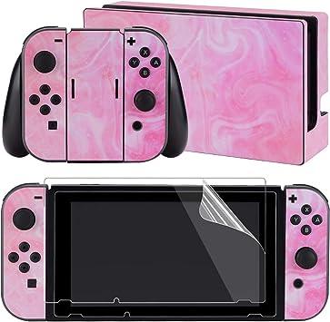 eXtremeRate Juego completo de pegatinas para Nintendo Switch/NS con 2 protectores de pantalla (consola y Joy-con y Dock y agarre): Amazon.es: Videojuegos