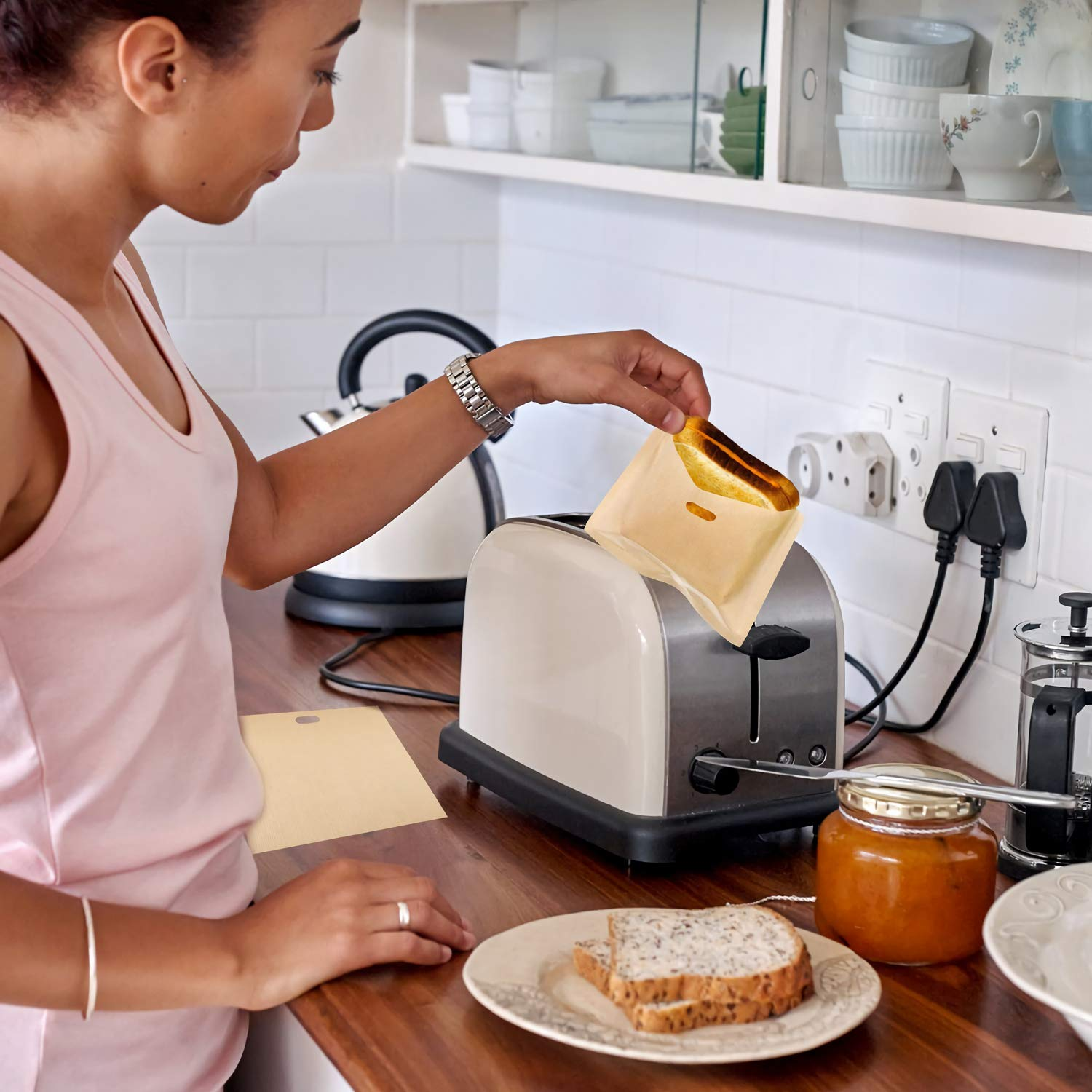 Non Stick Toaster Grilled Cheese Bags Reusable and Heat Resistant Easy to Clean, Gluten Free, FDA Approved, Perfect for Sandwiches, Chicken, Nuggets, Panini and Garlic Toasts - 10 Pcs by Famebird (Image #5)