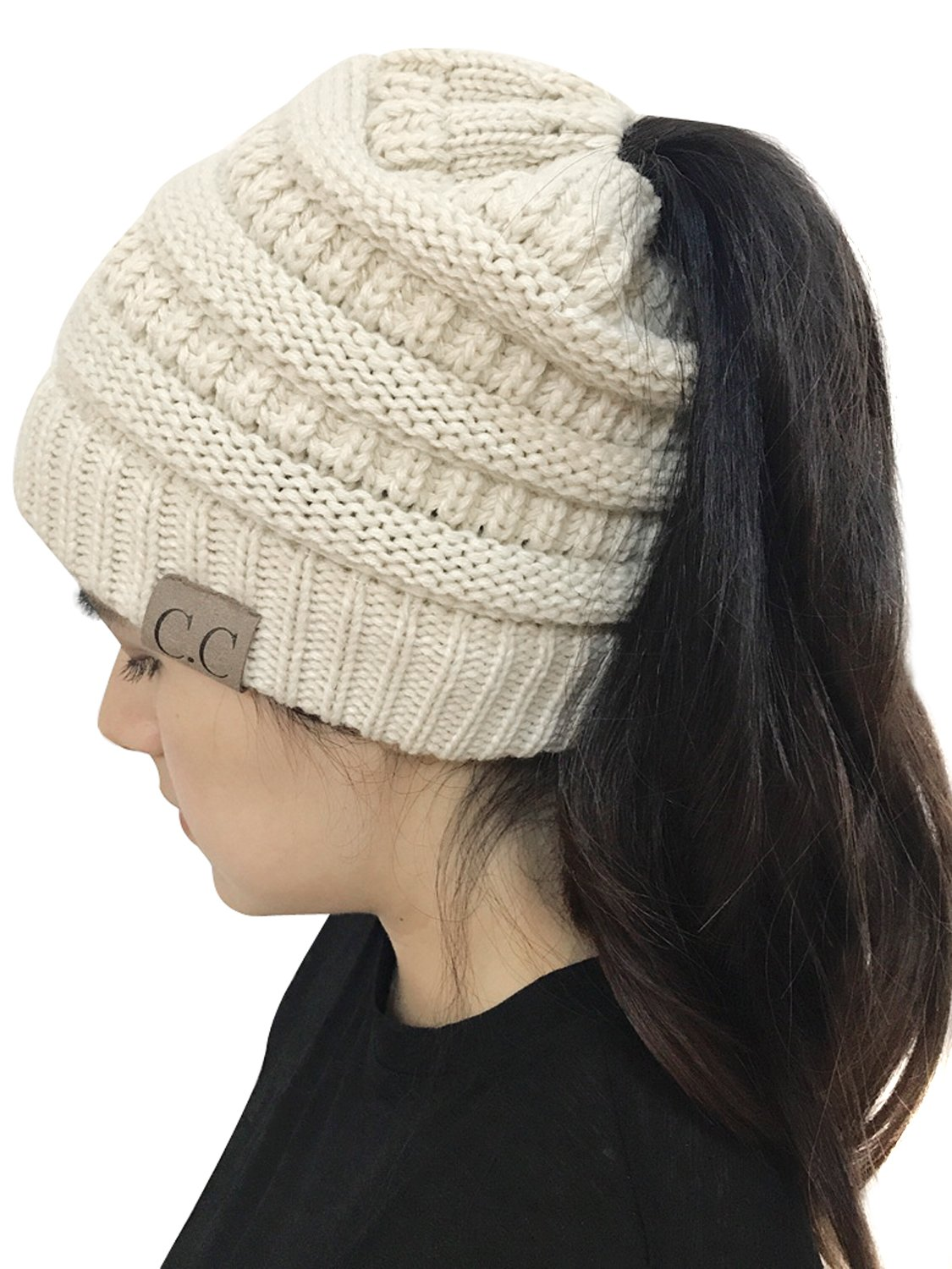 Joeoy Women's Beige Stretch Messy High Bun Ponytail Beanie Multi Color Cable Knit Hat Cap