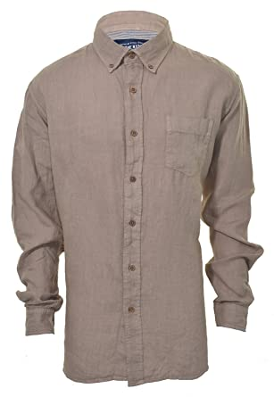 The New Ivy Brand Vintage Classics 100% Linen Long Sleeve Shirt (LARGE, Kahaki