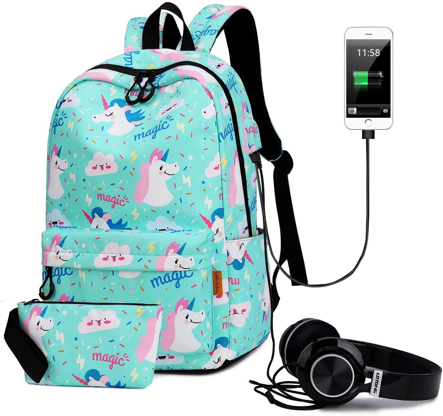Travel Laptop Backpack with USB Charging Port & Headphone interface