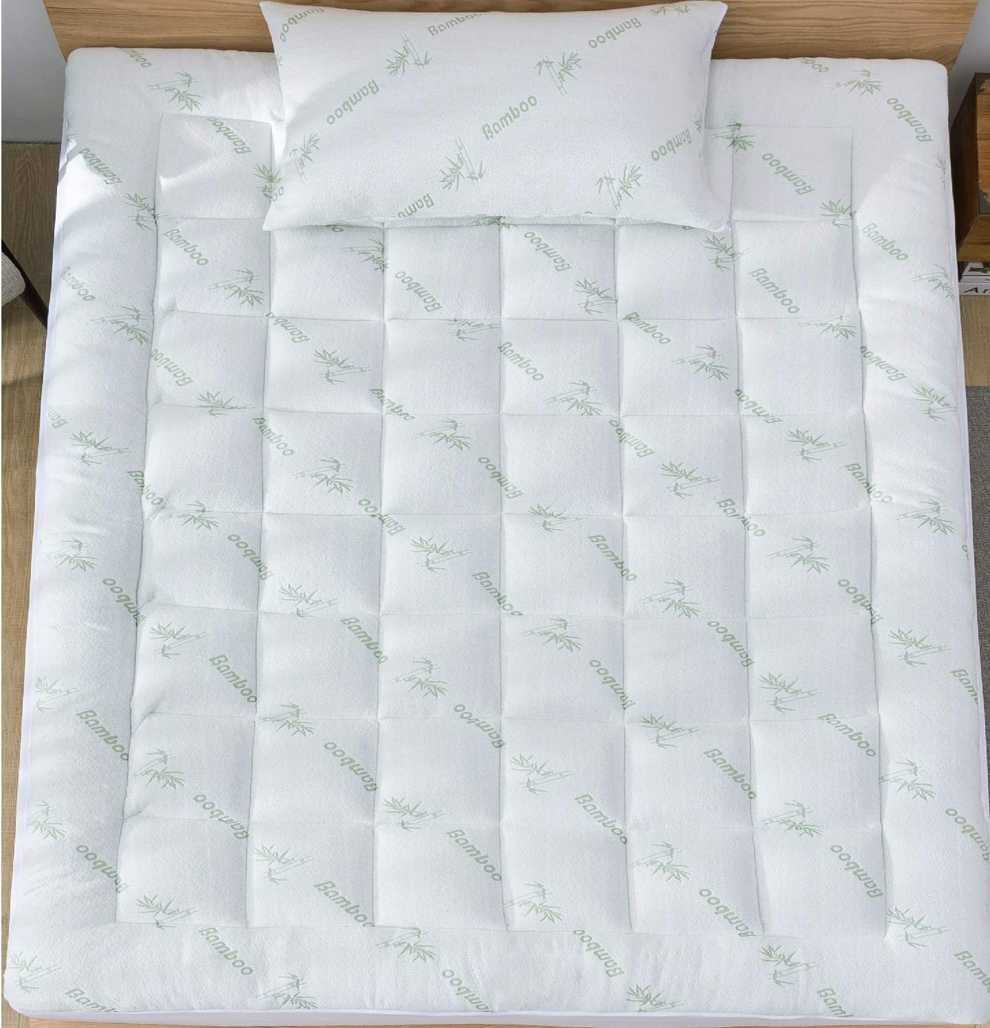 Niagara Sleep Solution Mattress Topper Twin 39x75 Quilted Down Alternative Extra Plush Anchor Band 4 Corner Elastic Protector Enhancer Extra Deep Fits 8-21Inches Soft White Bed Cover