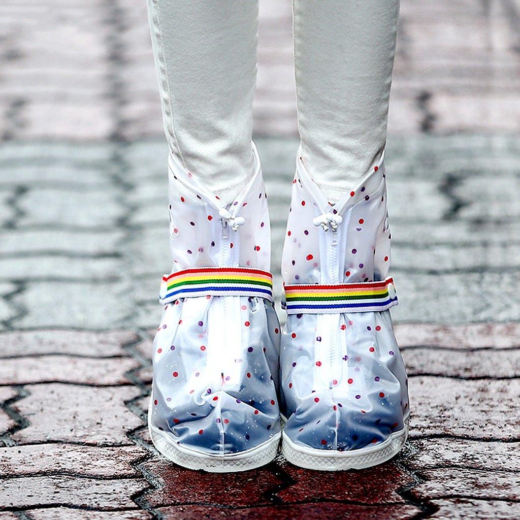 Antideslizante a prueba de agua y a prueba de lluvia Cubierta del zapato Mujer engrosamiento desgaste Estudiantes resistentes Cilindro al aire libre Funda de pie transparente y portátil huwai