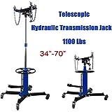 "Ridgeyard 34""-70"" Adjustable 1100 lbs 0.5 Ton 2 Stage Vertical Telescopic Hydraulic Transmission Jack w/ Pedal 360° Swivel Wheels Lift Hoist"