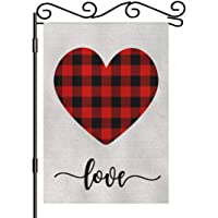 "AOYEGO Love Garden Yard Flag 12.5""x 18"" Double Sided Polyester Red Black Buffalo Plaid Tartan Checkered House Flag…"