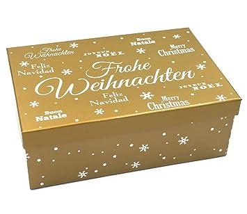 Frohe Weihnachten Gold.Heku Geschenkbox Frohe Weihnachten Gold Größe Farbe Wählbar
