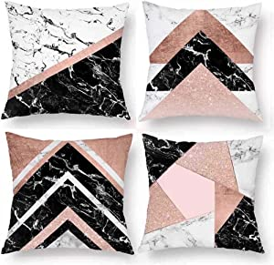 H Design Pack of 4 Throw Pillow Cover Decorative Cushion Cover 18 x 18 Marble Stone Natural Line Rose Gold Black Creamy Triangle Pillow Case Hidden Zipper Home Decor Spring Fall Sofa Couch Bed