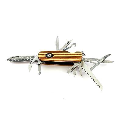Couteau de poche Engineer Pro, élégant couteau de poche lame DAMAS, tire-bouchon, de 3tournevis, axe, Scie, scheere, Clé à fourche, bouteilles Crochets, ouvre-boîte, manche en bois z&ea