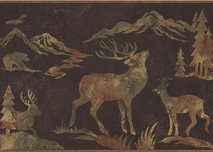 Wildlife Outdoors Moose Deer Elk Silhouettes Dark Brown Wallpaper Border Retro Design Roll 15