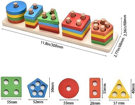 Lewo Di Legno educativi del Bambino Giocattoli Forme Geometriche Blocco Bordo Pila Puzzle Sort Chunky