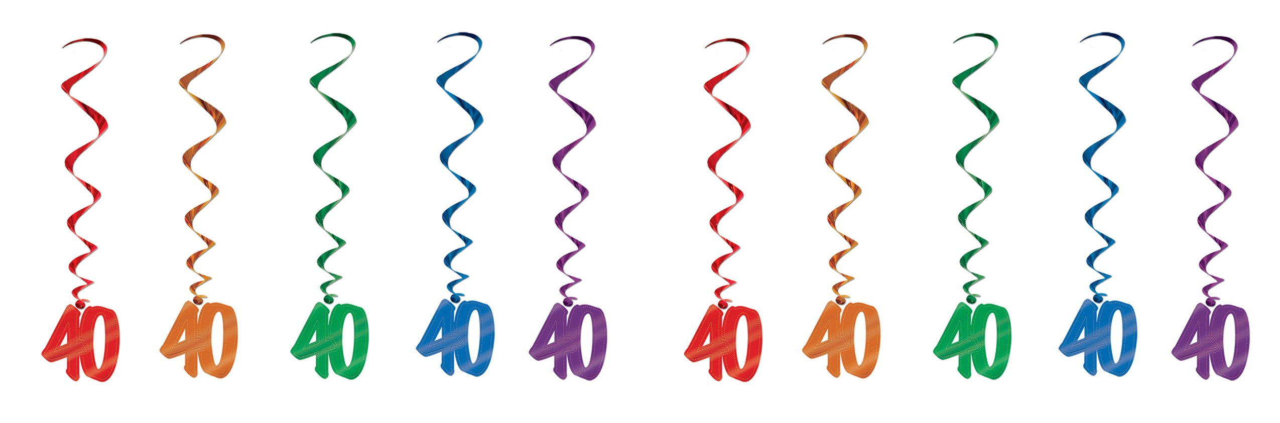 Beistle S57551-40AZ2 40 Whirls 10 Piece, Multicolored by Beistle