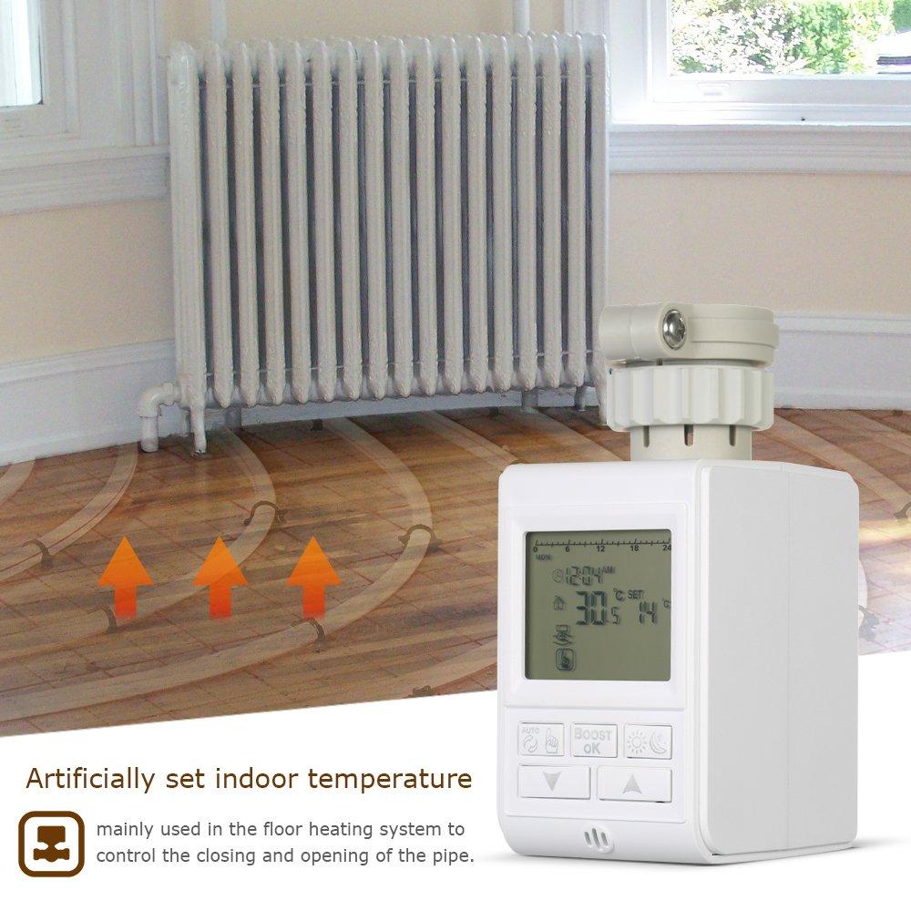 Weehey Temporizador programable TRV Termostato de v/álvula de radiador Actuador Radiador Termostato de calefacci/ón Radiador Control de Temperatura de la habitaci/ón