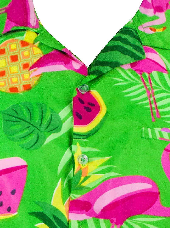 King Kameha Funky Hawaiihemd Herren Kurzarm Fronttasche Hawaii-Print Flamingo Melone