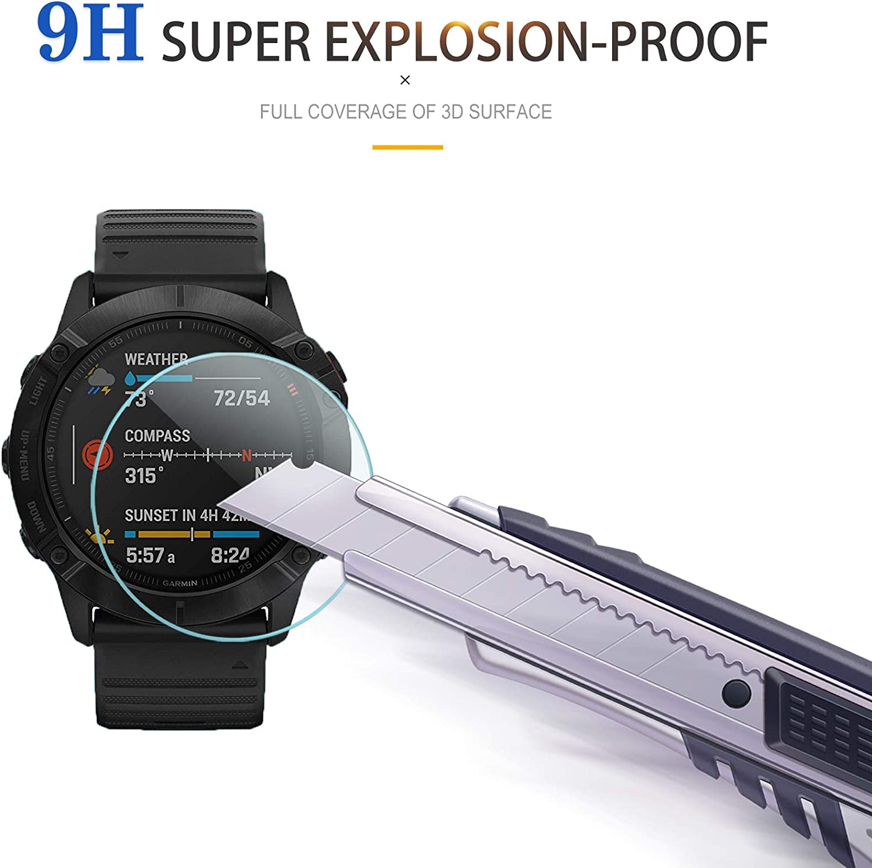 Suoman 4-Pack for Garmin Fenix 6X Screen Protector Tempered Glass for Garmin Fenix 6X// 6X Pro// 6X Pro Solar Anti-Scratch 2.5D 9H Hardness Not Fit for Fenix 6//6S