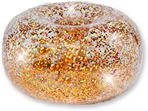 "BloChair Glitter Ottoman - Gold Holographic Glitter - 23"" Diameter Inflatable Footrest and Seat - Comfortable & Convenient Furniture for Home, Dorm, Parties & Events - 100% Waterproof & Holds 200lbs"