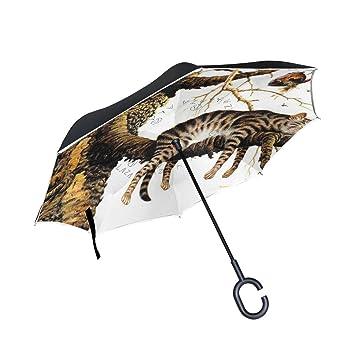 jstel doble capa puede Árbol Antiguo Gato Paraguas coches Reverse resistente al viento lluvia paraguas para