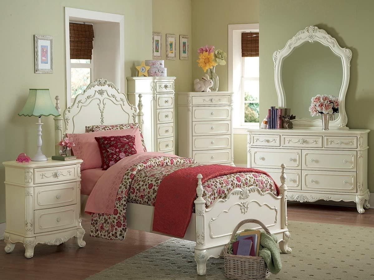 Cinderella 4 PC Queen Bedroom Set by Home Elegance in Off-White Cream