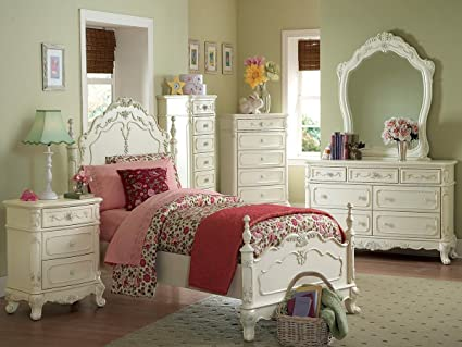 Cinderella 5 PC Twin Bedroom Set with 2 Nightstand by Homelegance in  Off-White/Cream