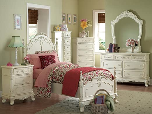Cinderella 4 PC Twin Bedroom Set by Home Elegance in Off-White/Cream