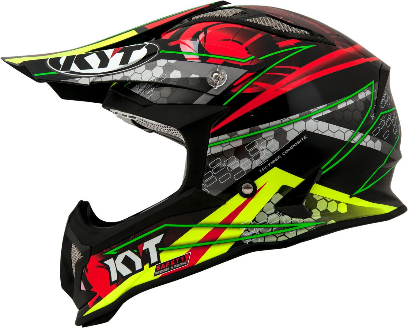 Amazon.es: KYT casco Moto Cross off-road Strike Eagle, Web Matt Green/Red, talla L, 59 - 60 cm