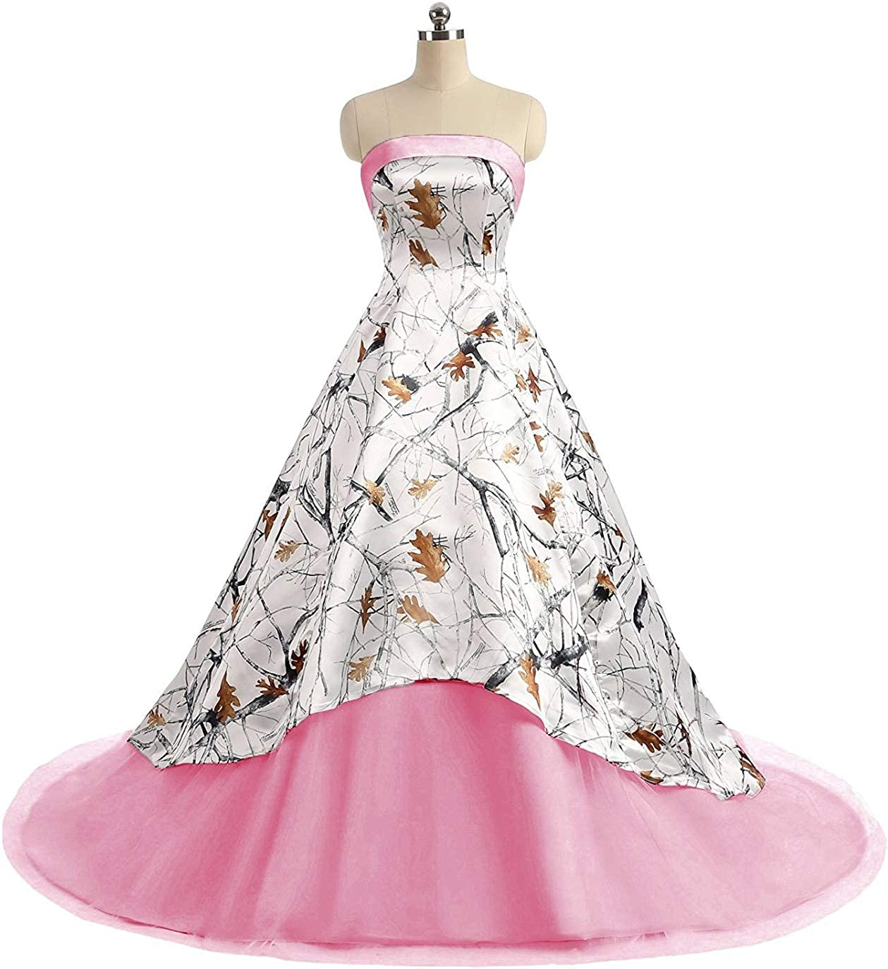 Pink Jingliz Camo Wedding Dresses Strapless Tulle Ball Gown Long Prom Quineceaneara Dress