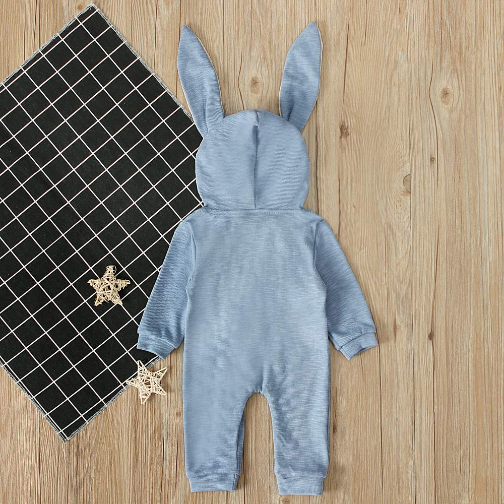 Rabbit Zippered Romper Solid Color Long Sleeve for Unisex Baby Infant Girl or Boy Hooded Jumpsuit
