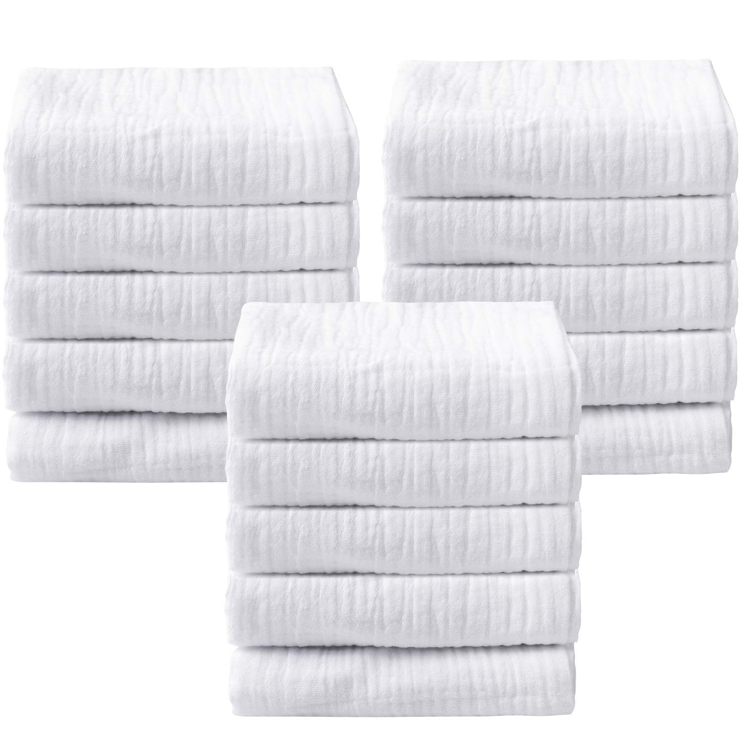 15 Pieces Baby Washcloths White Baby Face Towels Baby Muslin Washcloths Soft Newborn Baby Face Towels for Sensitive Skin