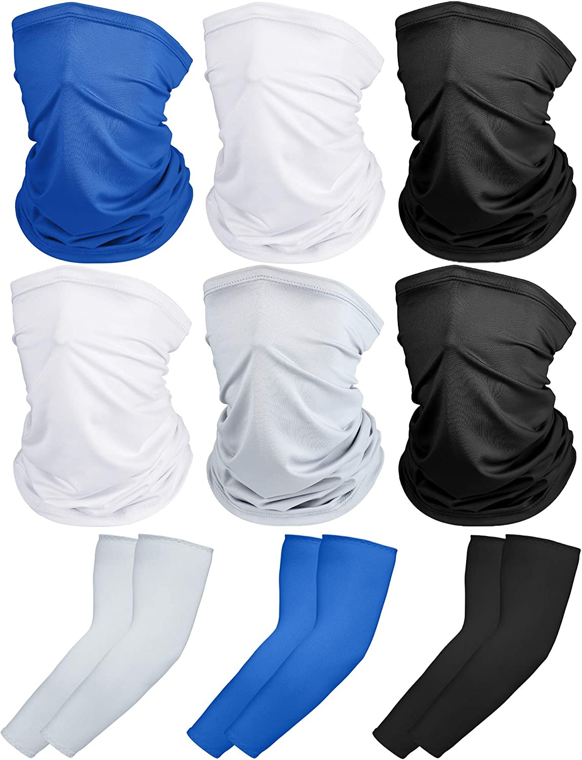SATINIOR 6 Pieces Summer UV Protection Face Covers Neck Gaiter Breathable Bandana Scarf with 3 Pairs Ice Silk Cooling Arm Sleeves for Summer Outdoor Activities