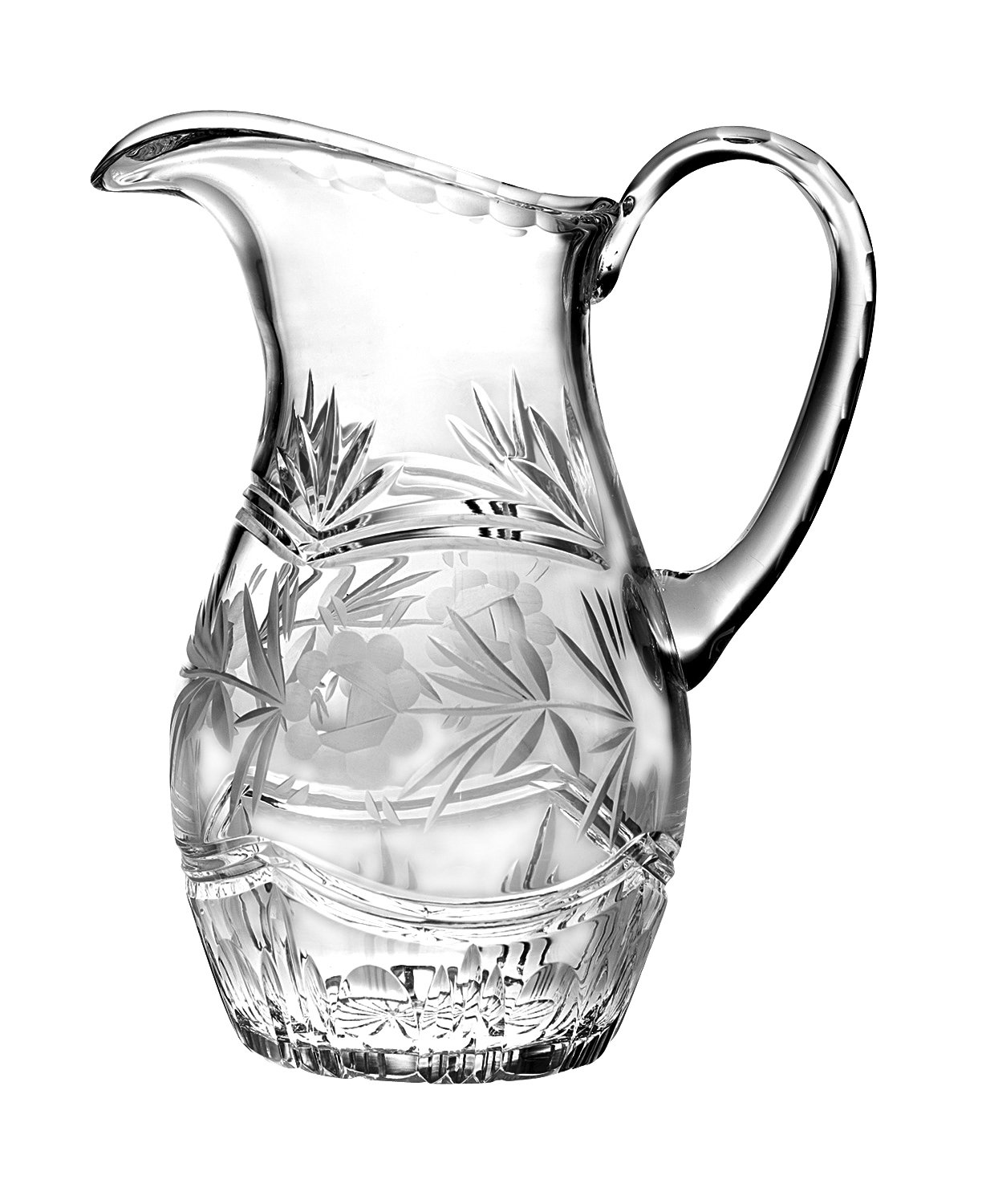 Barski - Hand Cut - Mouth Blown - Crystal Pitcher - with Handle - With Rose Design - 54 oz. - Made in Europe