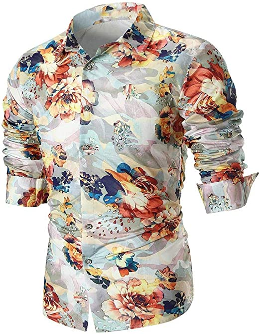 Qiusa Camisas para Hombre de Manga Larga, Camiseta Informal ...
