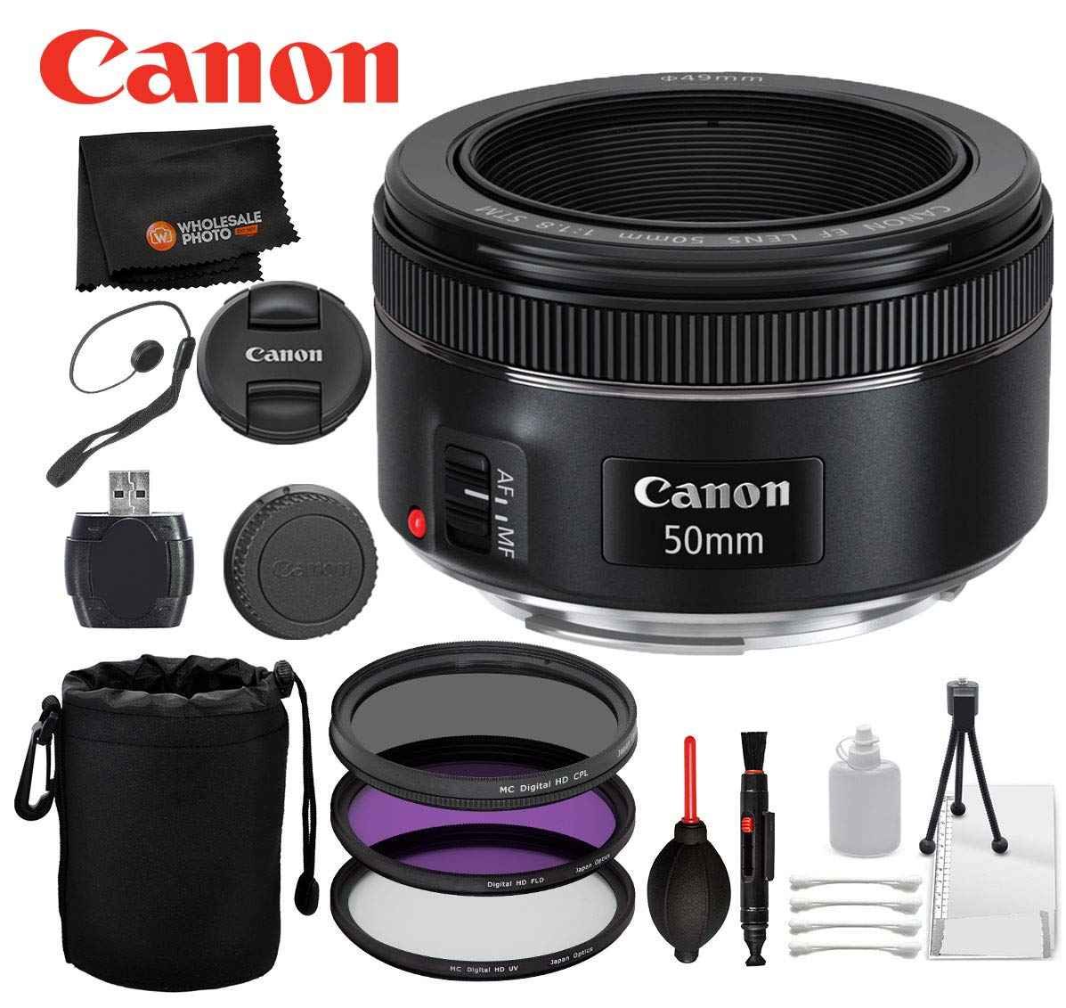 Canon EF 50mm f/1.8 STM Lens with Professional Bundle Package Deal Kit for EOS 7D Mark II, 6D Mark II, 5D Mark IV, 5D S R, 5D S, 5D Mark III, 80D, 70D, 77D, T5, T6, T6s, T7i, SL2 by Canon