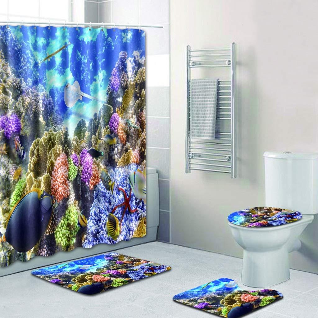 CYHY Unterwasserlandschaft 4-teiliges 4-teiliges 4-teiliges Badezimmer-Set, WC-Deckel Abdeckung Sockel WC-Bad Rutschfeste Teppich Teppich und Wasserdichte Duschvorhang mit 12 Haken (Farbe   5, Größe   17.7 x 29.5 ) B07QHMH43K Duschmatten 01164d