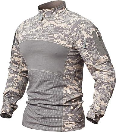 Memoryee Camisa de Combate Militar táctica de los Hombres Algodón Ejército Asalto Camo Manga Larga Slim Fit T Shirt: Amazon.es: Ropa y accesorios